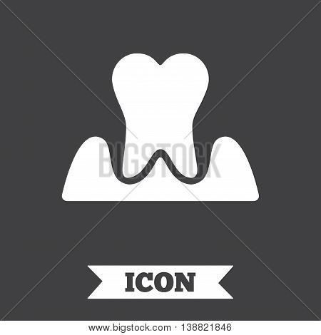 Parodontosis tooth icon. Gingivitis sign. Inflammation of gums symbol. Graphic design element. Flat parodontosist symbol on dark background. Vector