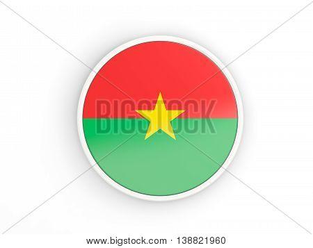 Flag Of Burkina Faso. Round Icon With Frame