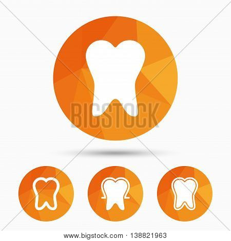 Tooth enamel protection icons. Dental care signs. Healthy teeth symbols. Triangular low poly buttons with shadow. Vector