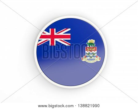 Flag Of Cayman Islands. Round Icon With Frame