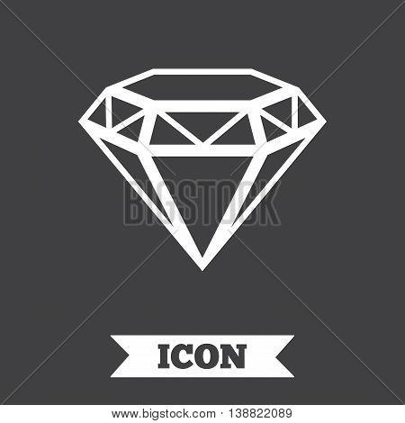 Diamond sign icon. Jewelry symbol. Gem stone. Graphic design element. Flat brilliant symbol on dark background. Vector