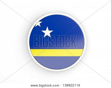 Flag Of Curacao. Round Icon With Frame