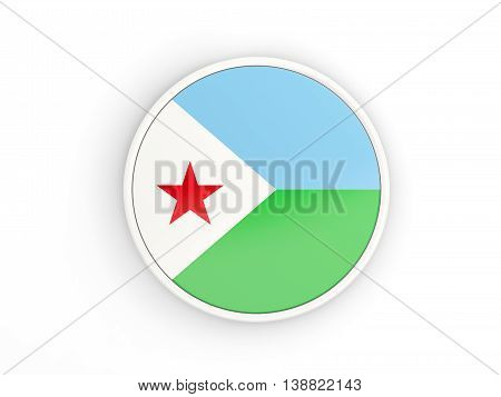 Flag Of Djibouti. Round Icon With Frame