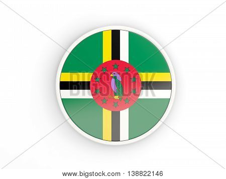 Flag Of Dominica. Round Icon With Frame