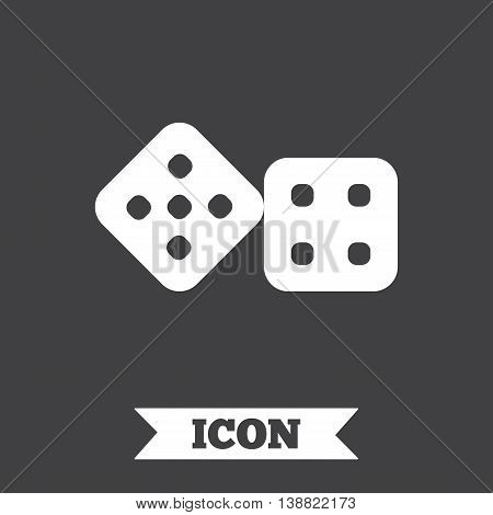 Dices sign icon. Casino game symbol. Graphic design element. Flat dice symbol on dark background. Vector