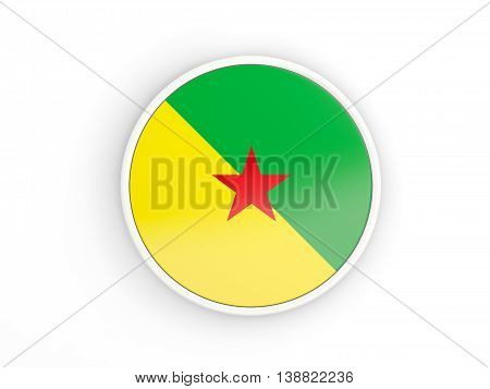 Flag Of French Guiana. Round Icon With Frame