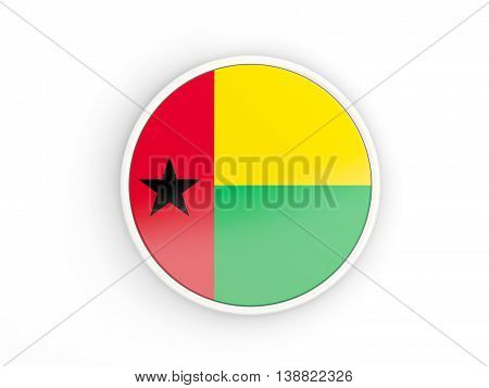 Flag Of Guinea Bissau. Round Icon With Frame
