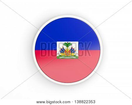 Flag Of Haiti. Round Icon With Frame