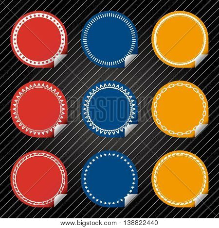 Plain Red, Blue, Yellow Stickers with tab, different border style