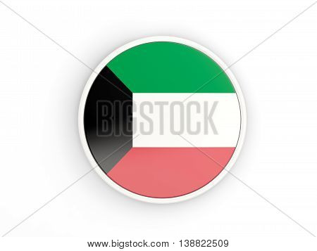 Flag Of Kuwait. Round Icon With Frame