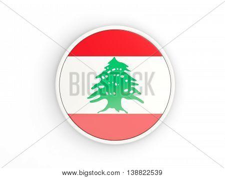 Flag Of Lebanon. Round Icon With Frame