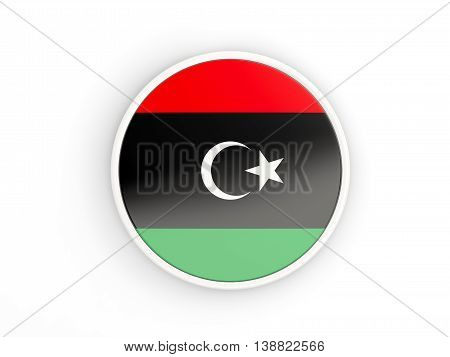 Flag Of Libya. Round Icon With Frame