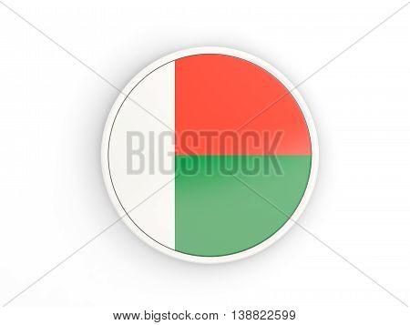 Flag Of Madagascar. Round Icon With Frame