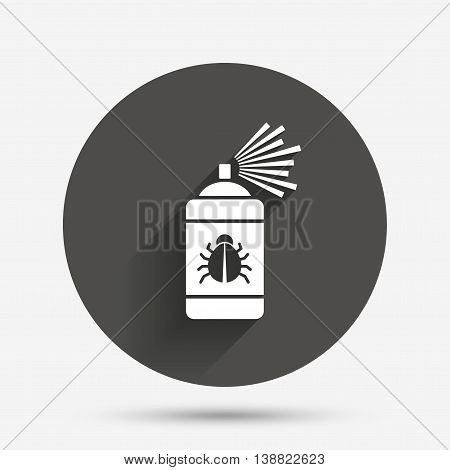 Bug disinfection sign icon. Fumigation symbol. Bug sprayer. Circle flat button with shadow. Vector