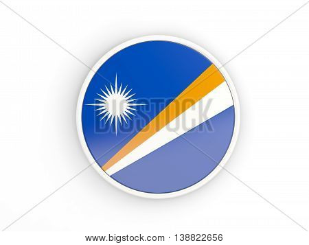 Flag Of Marshall Islands. Round Icon With Frame