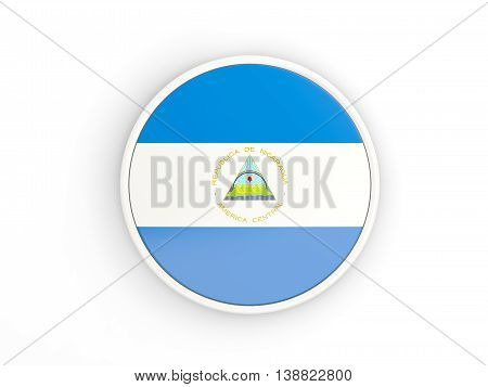 Flag Of Nicaragua. Round Icon With Frame