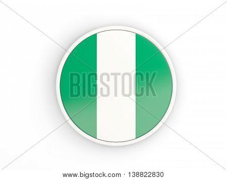Flag Of Nigeria. Round Icon With Frame
