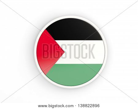 Flag Of Palestinian Territory. Round Icon With Frame