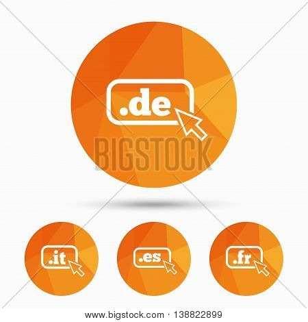 Top-level internet domain icons. De, It, Es and Fr symbols with cursor pointer. Unique national DNS names. Triangular low poly buttons with shadow. Vector