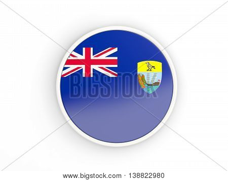 Flag Of Saint Helena. Round Icon With Frame