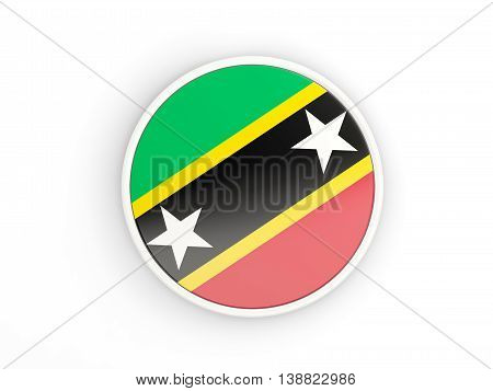 Flag Of Saint Kitts And Nevis. Round Icon With Frame