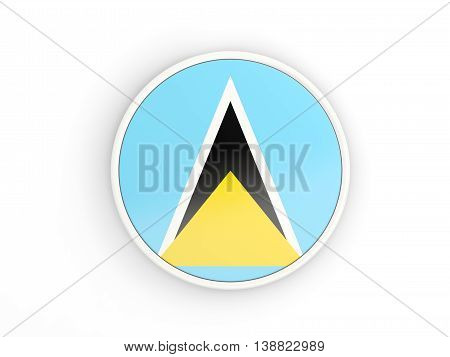 Flag Of Saint Lucia. Round Icon With Frame