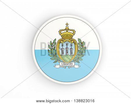Flag Of San Marino. Round Icon With Frame