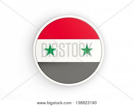 Flag Of Syria. Round Icon With Frame