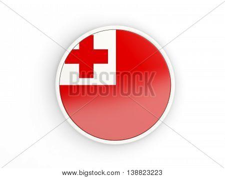 Flag Of Tonga. Round Icon With Frame