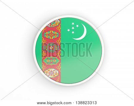 Flag Of Turkmenistan. Round Icon With Frame