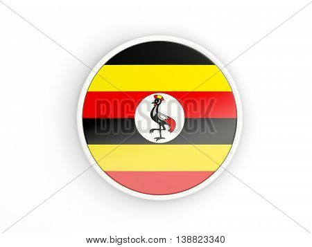 Flag Of Uganda. Round Icon With Frame