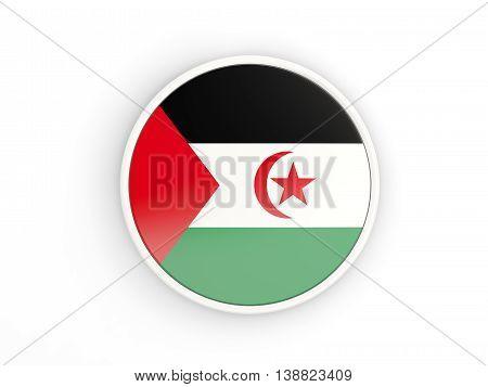 Flag Of Western Sahara. Round Icon With Frame