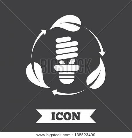 Fluorescent lamp bulb with leaves sign icon. Energy saving. Economy symbol. Graphic design element. Flat fluorescent lamp symbol on dark background. Vector