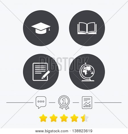 Pencil with document and open book icons. Graduation cap and geography globe symbols. Learn signs. Chat, award medal and report linear icons. Star vote ranking. Vector