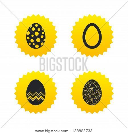 Easter eggs icons. Circles and floral patterns symbols. Tradition Pasch signs. Yellow stars labels with flat icons. Vector