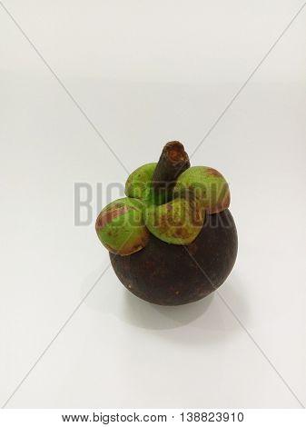 Mangosteen Thai fruit isolated on white background