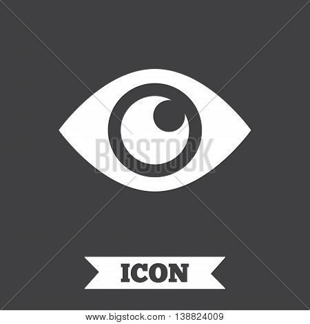 Eye sign icon. Publish content button. Visibility. Graphic design element. Flat eye symbol on dark background. Vector
