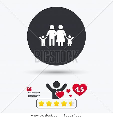 Family icon. Parents with children symbol. Family insurance. Star vote ranking. Person with heart. Quotes with message. Vector