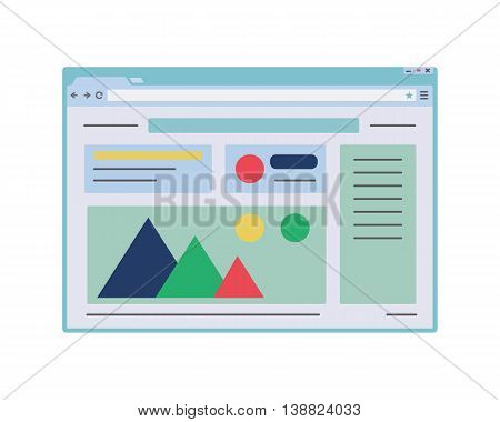 Flat web browser window mockup. Internet window with website page template.