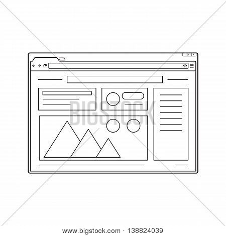 Simple web browser window. Internet window with website page template. Line design.