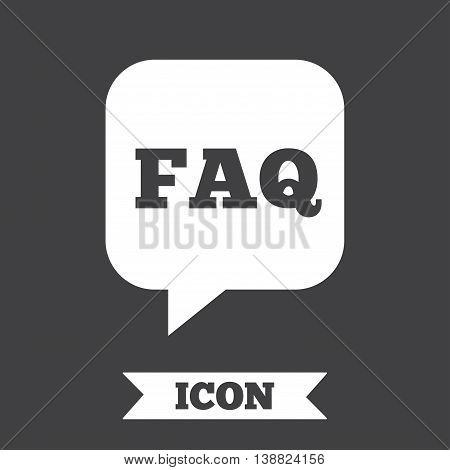 FAQ information sign icon. Help speech bubble symbol. Graphic design element. Flat faq symbol on dark background. Vector