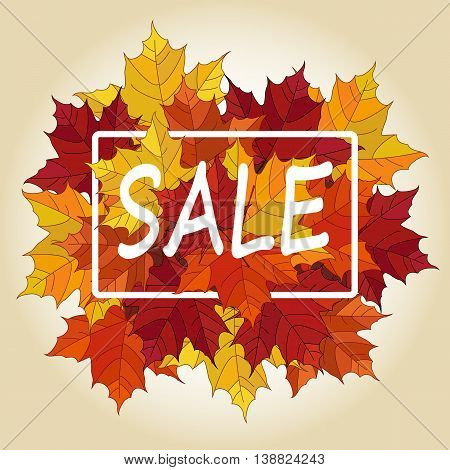 Autumn sale vector banner. Pile of leaves. Maple autumn leaves. Autumn typographic.Vector Fall leaf.