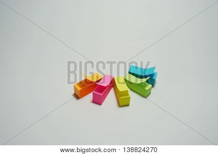 Multicolor of stick note on white background
