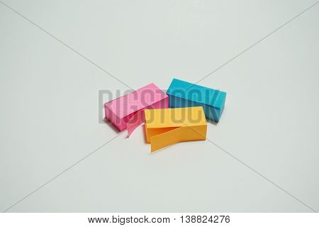 Multicolor stick note isolated on white background