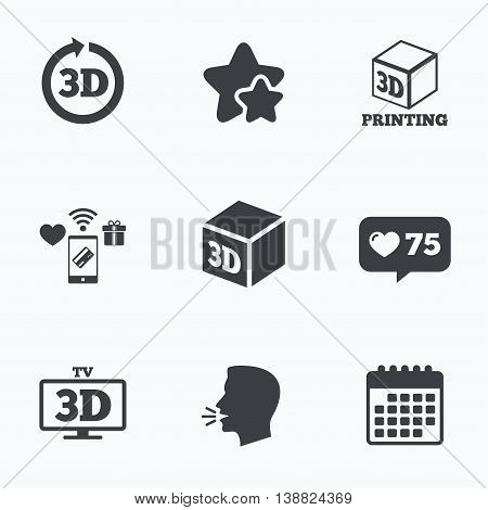 3d tv technology icons. Printer, rotation arrow sign symbols. Print cube. Flat talking head, calendar icons. Stars, like counter icons. Vector