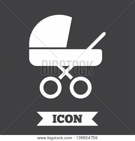 Baby pram stroller sign icon. Baby buggy. Baby carriage symbol. Graphic design element. Flat carriage symbol on dark background. Vector