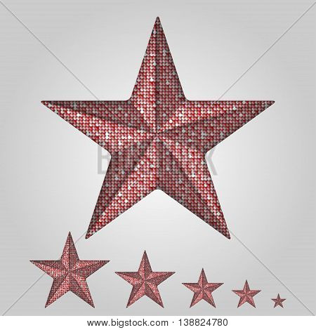 Vector red star with elements of sequins on a grey background.
