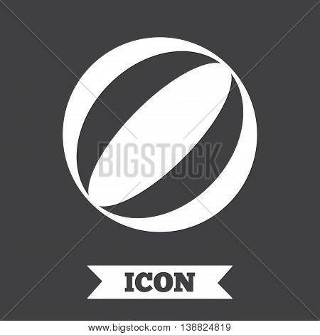 Beach ball sign icon. Water ball. Graphic design element. Flat beach ball symbol on dark background. Vector
