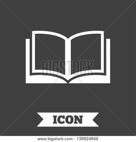 Book sign icon. Open book symbol. Graphic design element. Flat book symbol on dark background. Vector