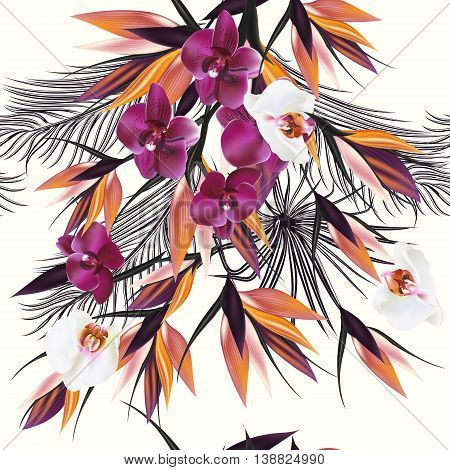 Beautiful seamless vector pattern with tropical plants orchids and palm leafs. Ideal for fabric prints patterns